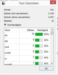 Wordcount in den Textstatistiken